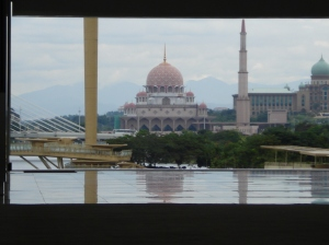 "The ""Pink Mosque"" or ""Masjid Putera"" in the distant right"